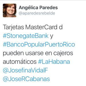 tweet on credit cards in Cuba